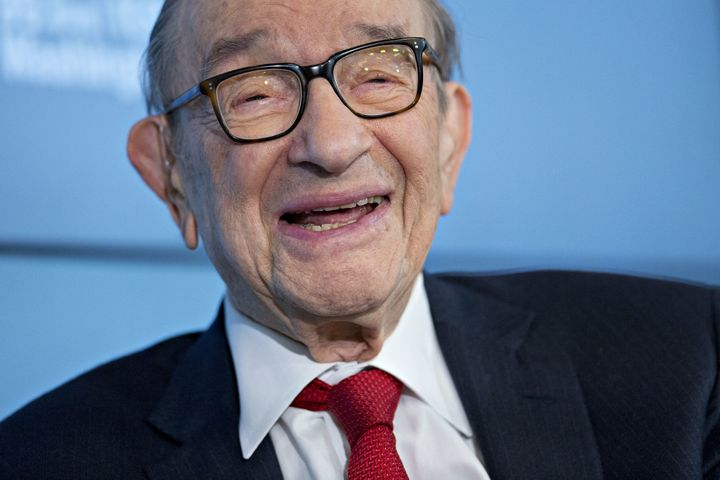 Alan Greenspan, former chairman of the U.S. Federal Reserve and president and founder of Greenspan Associates, during a Bloom