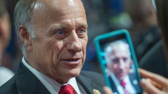 UNITED STATES - JULY 18: Rep. Steve King, R-Iowa, is interviewed on the floor of the Quicken Loans Arena on first day of the Republican National Convention in Cleveland, Ohio, July 18, 2016. (Photo By Tom Williams/CQ Roll Call)