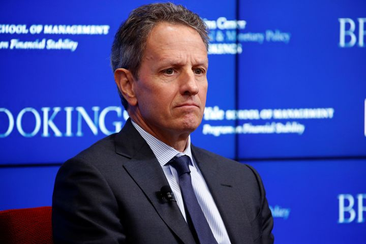 "Former Treasury Secretary Timothy Geithner discusses ""10 Years After the Global Financial Crisis"" in Washington, D.C., on Sep"