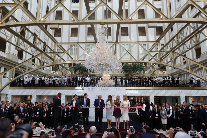 The Trump family cuts the ribbon on the Washington hotel in October 2016.