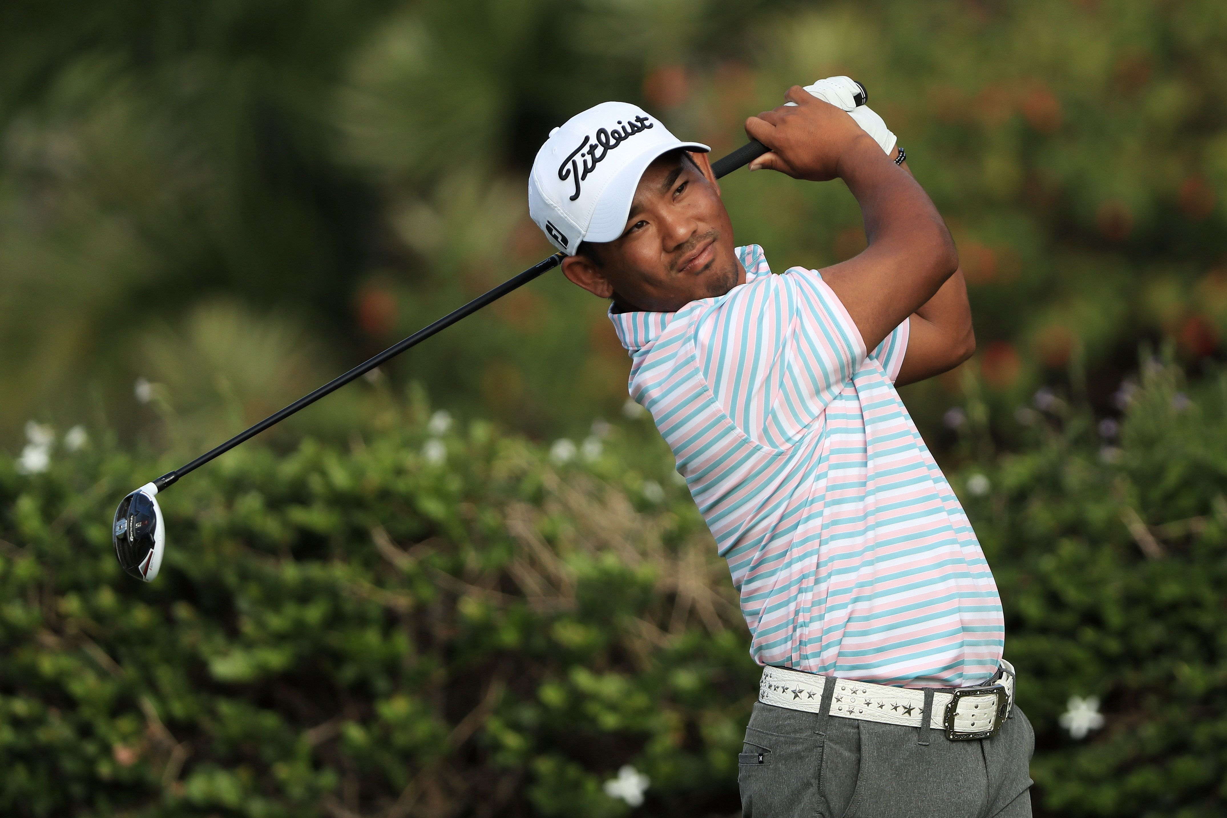 HONOLULU, HI - JANUARY 12:  Tadd Fujikawa of the United States plays his shot from the 15th tee during the first round of the Sony Open In Hawaii at Waialae Country Club on January 12, 2017 in Honolulu, Hawaii.  (Photo by Sam Greenwood/Getty Images)