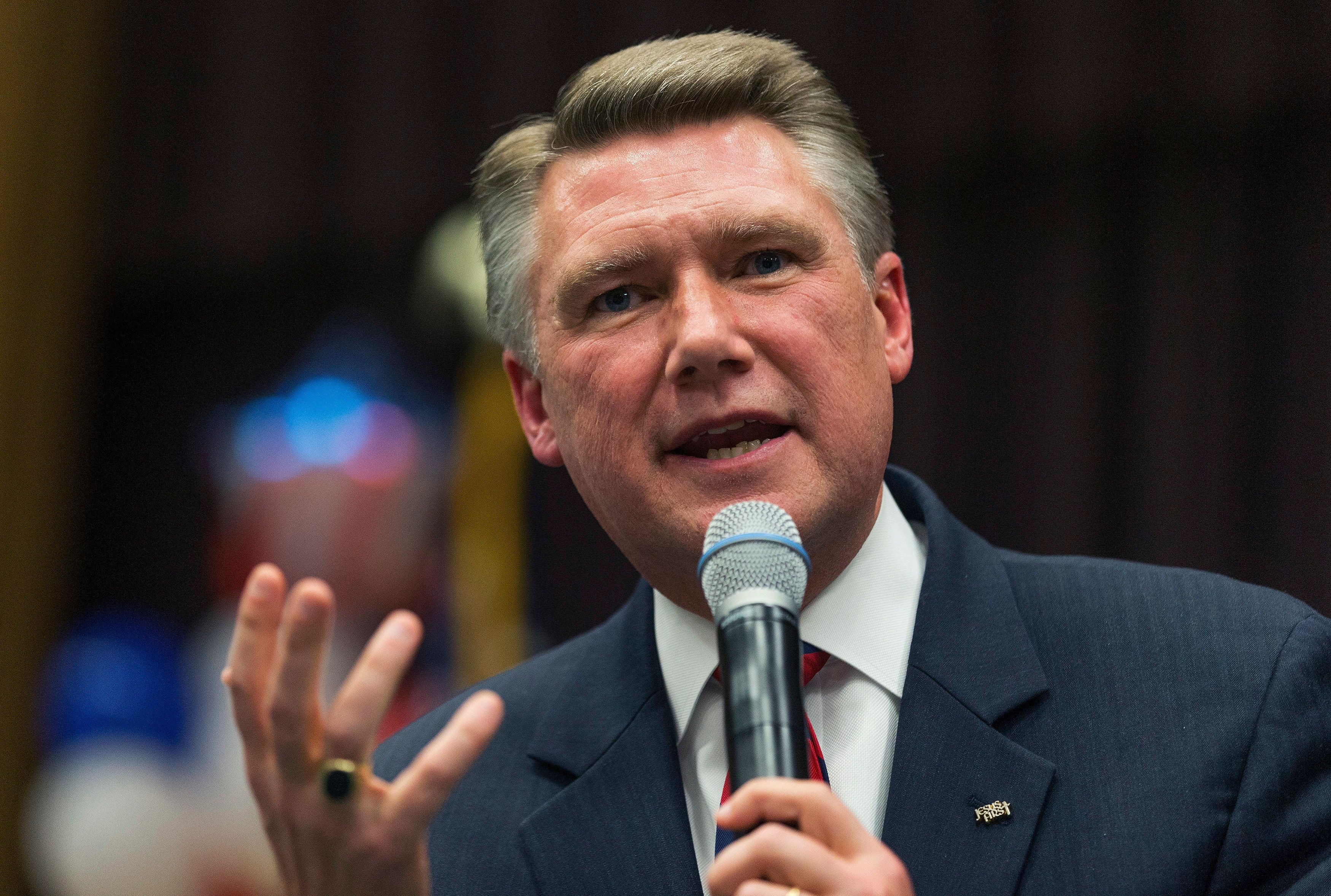 Republican candidate for the U.S. Senate Mark Harris speaks to supporters during a volunteer meeting and rally at the Ardmore Auditorium in Winston-Salem, North Carolina April 8, 2014. Picture taken April 8, 2014. To match USA-NORTHCAROLINA-SENATE    REUTERS/Chris Keane (UNITED STATES - Tags: POLITICS ELECTIONS)