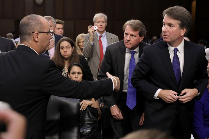 """""""If I had known who he was, I would have shaken his hand, talked to him, and expressed my sympathy,"""" Kavanaugh, right, said o"""