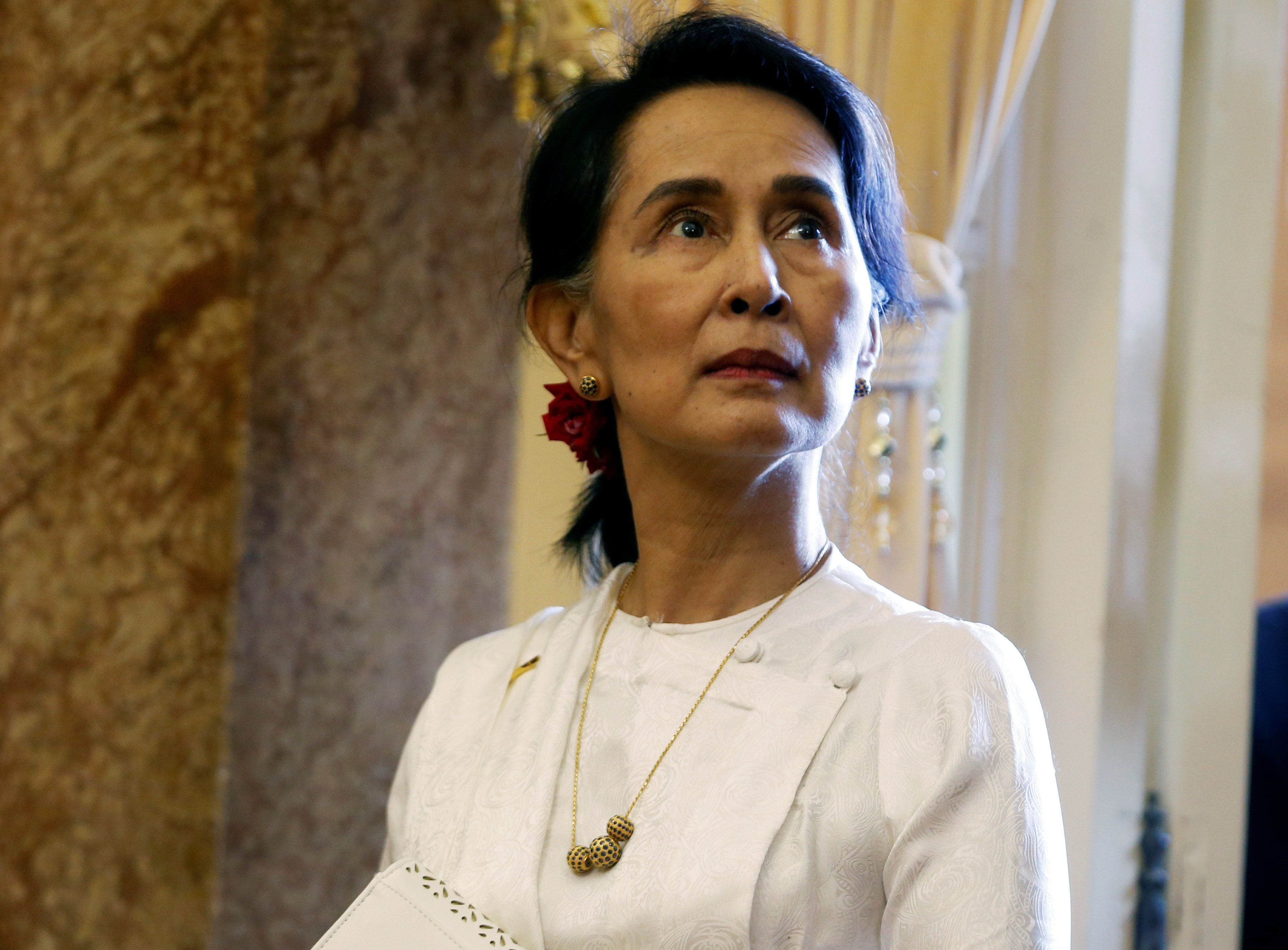 Myanmar's State Counsellor Aung San Suu Kyi  is seen while she waits for a meeting with Vietnam's President Tran Dai Quang (not pictured) at the Presidential Palace during the World Economic Forum on ASEAN in Hanoi, Vietnam September 13, 2018. REUTERS/Kham/Pool