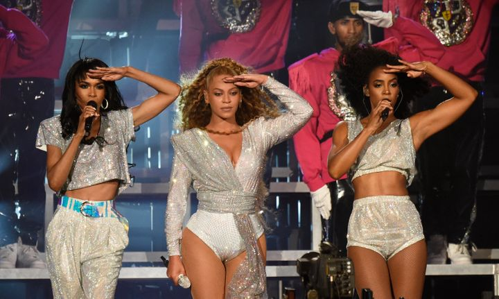 Michelle Williams, Beyoncé Knowles and Kelly Rowland perform during the 2018 Coachella Valley Music And Arts Fest