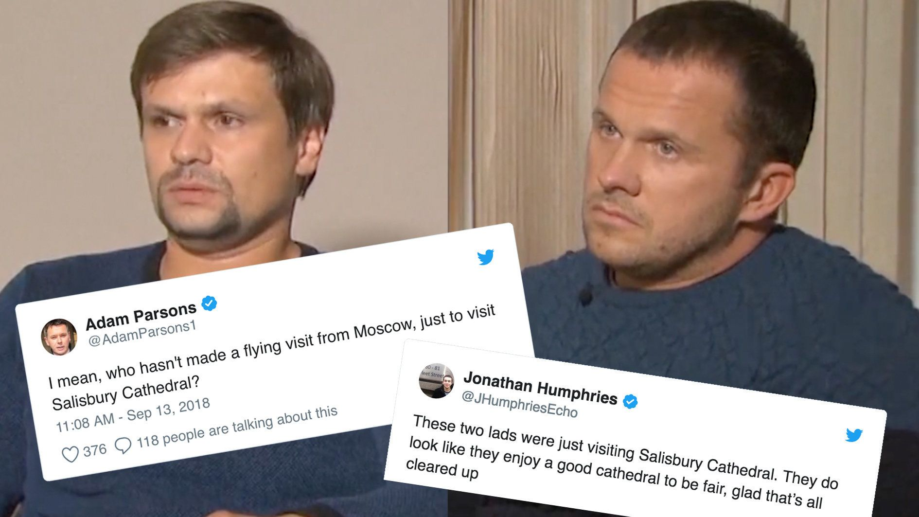 Novichok Suspects Roundly Mocked For Saying They Visited Salisbury As