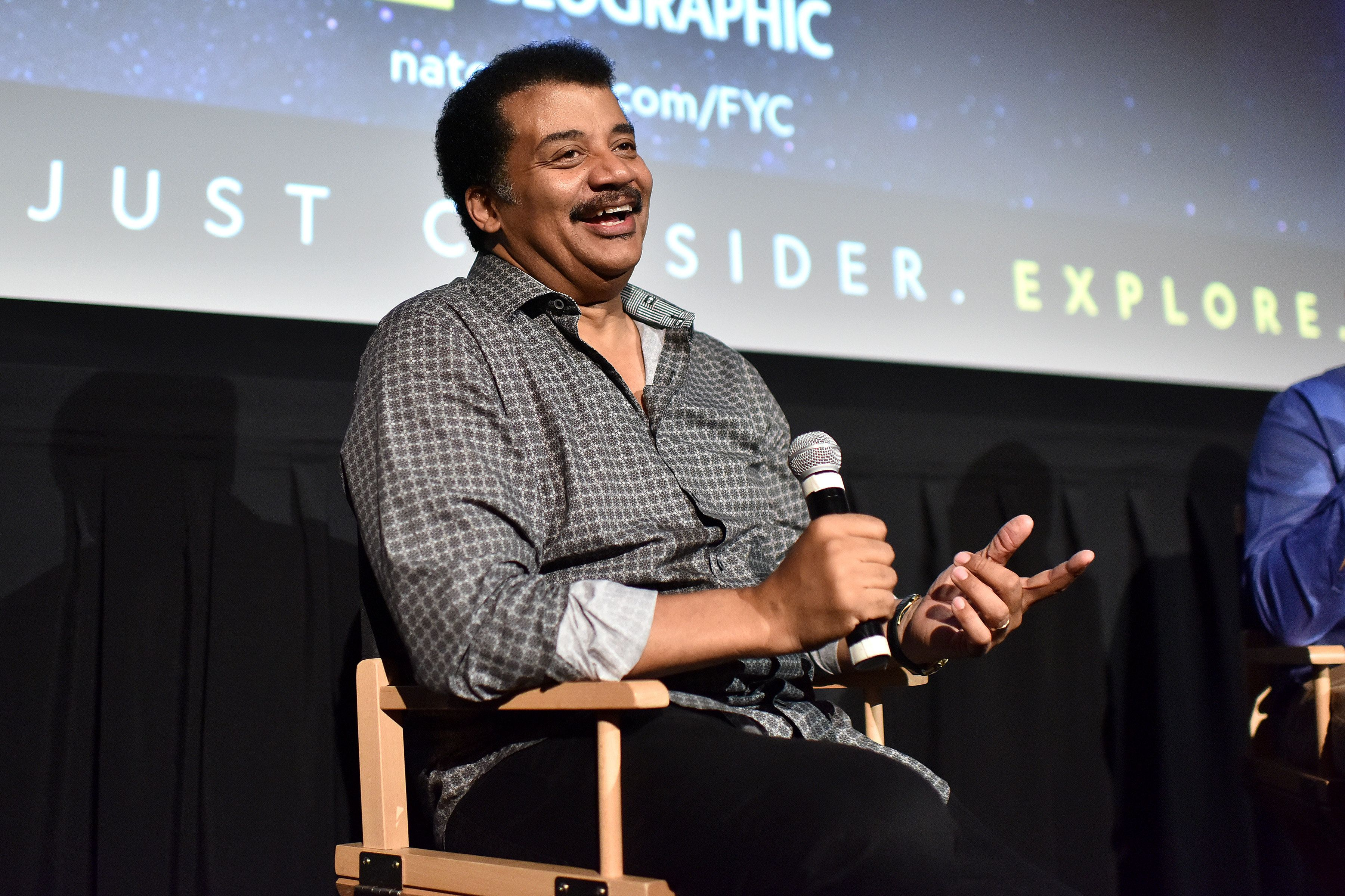 "NEW YORK - JUNE 7: American astrophysicist Neil deGrasse Tyson attends an FYC event for National Geographic's ""StarTalk"" at Metrograph on June 7, 2018 in New York City. (Photo by Anthony Behar/National Geographic/PictureGroup/Sipa USA)"