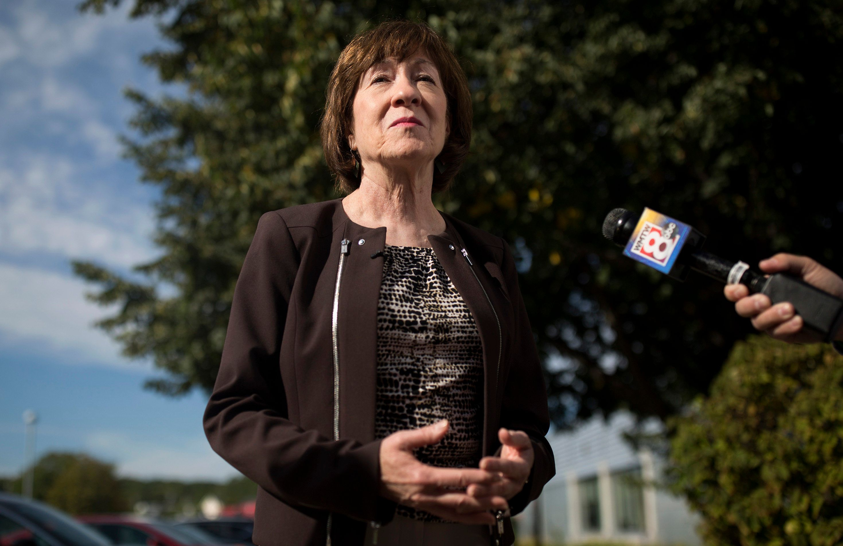 SCARBOROUGH, ME - SEPTEMBER 7: Sen. Susan Collins speaks with members of the press about the nomination of Brett Kavanaugh to the Supreme Court after a tour of the healthcare company Abbott Laboratories. (Staff photo by Brianna Soukup/Portland Press Herald via Getty Images)