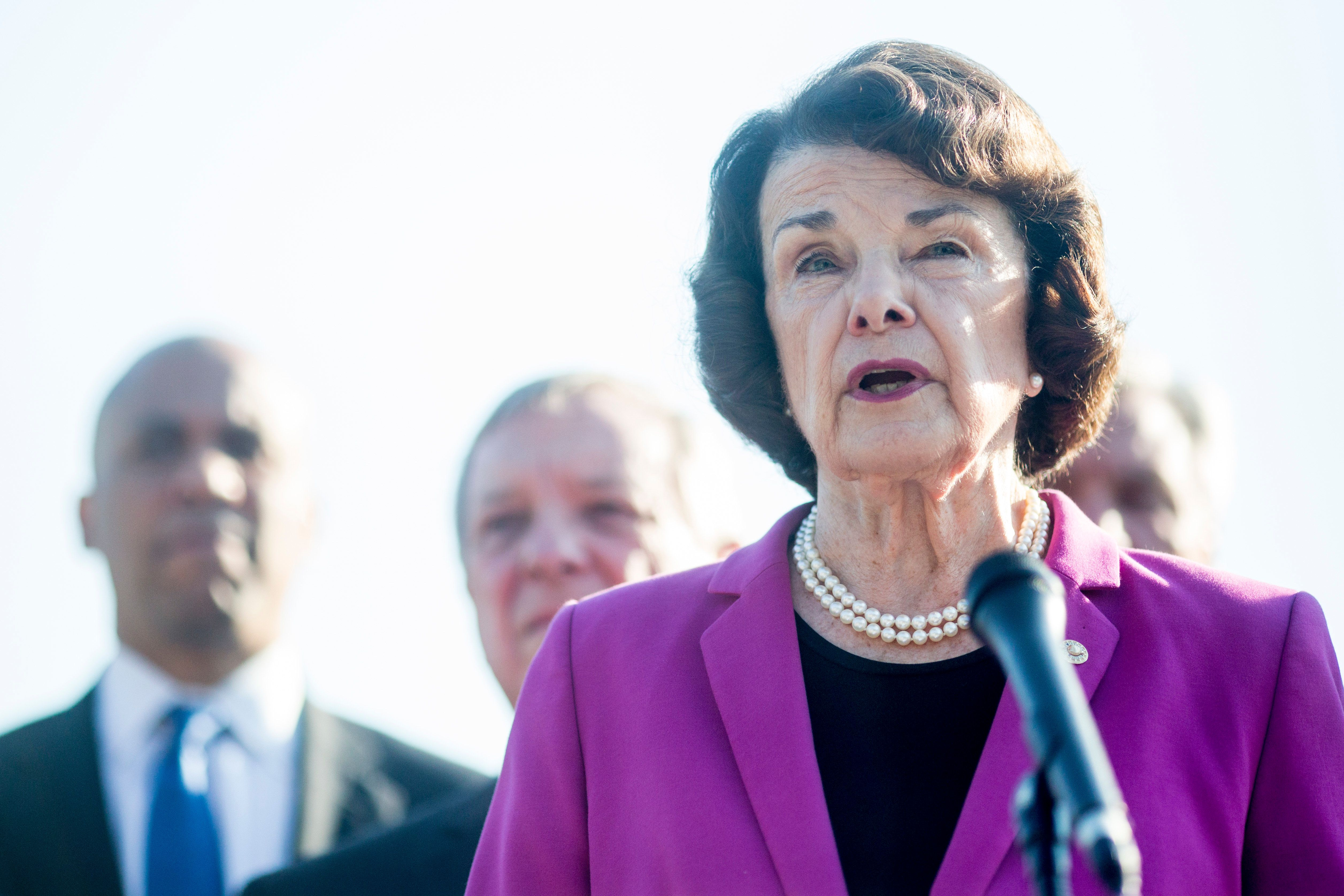 WASHINGTON, DC - SEPTEMBER 04: Senate Judiciary Committee Ranking Member Senator Dianne Feinstein (D-CA) speaks during a news conference denouncing the White House's withholding of documents on Supreme Court Nominee Brett Kavanaugh outside of the U.S. Supreme Court on September 4, 2018 in Washington, DC.   (Photo by Zach Gibson/Getty Images)