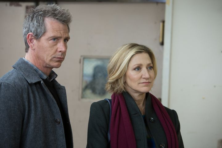 "Ben Mendelsohn and Edie Falco in ""The Land of Steady Habits."""