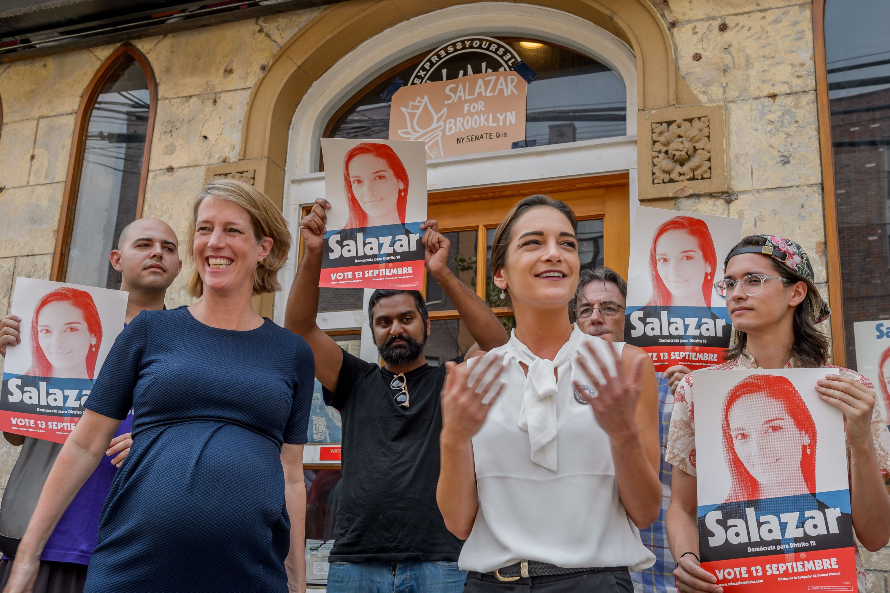 JULIA SALAZAR CAMPAIGN OFFICES, BROOKLYN, NY, UNITED STATES - 2018/08/06: Julia Salazar, candidate for NYS Senate, and Zephyr Teachout, candidate for NYS Attorney General, held together a press conference on August 6, 2018 to endorse one another in Salazars Bushwick neighborhood. Salazar is the insurgent candidate challenging 16-year incumbent Martin Dilan for the State Senate seat in district 18. (Photo by Erik McGregor/Pacific Press/LightRocket via Getty Images)