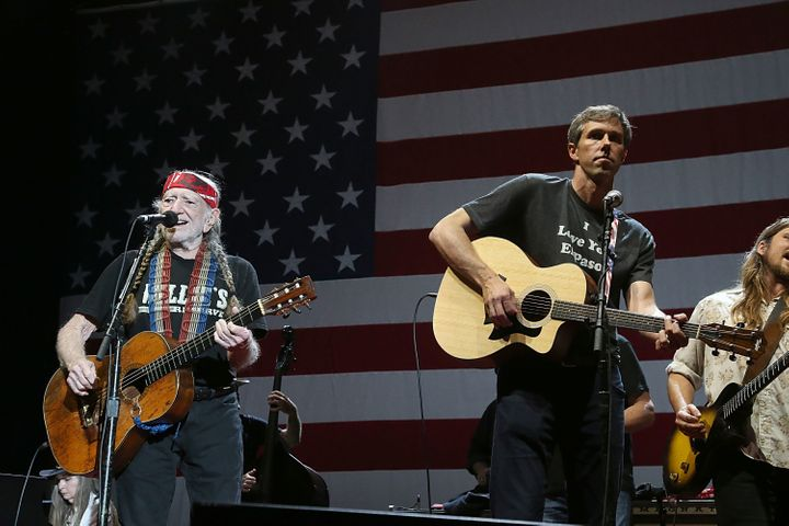 Willie Nelson (L) and Beto O'Rourke perform in concert at Willie Nelson's 45th 4th Of July Picnic at the Austin360 Amphitheat