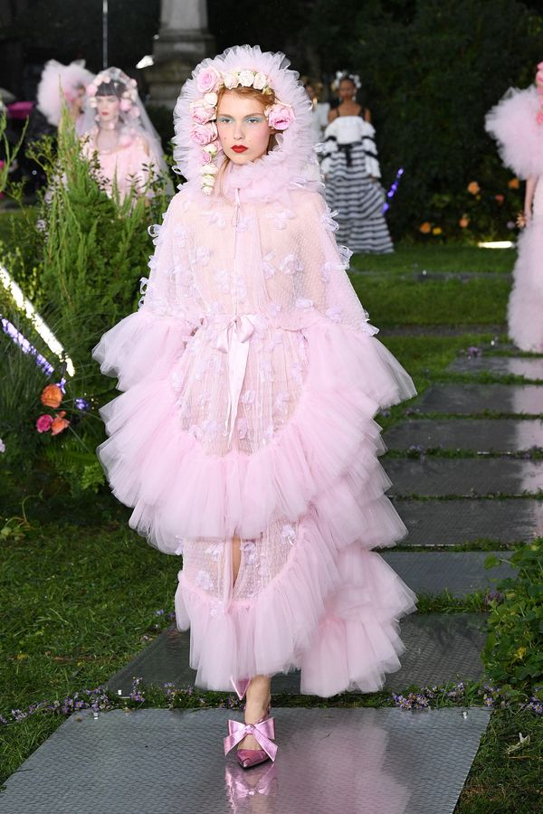 Rodarte's return to NYFW on Sept. 9 was full of pink tulle, ruffles and flowers.