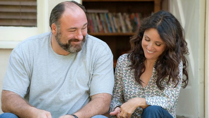 "James Gandolfini and Julia Louis-Dreyfus in ""Enough Said."""