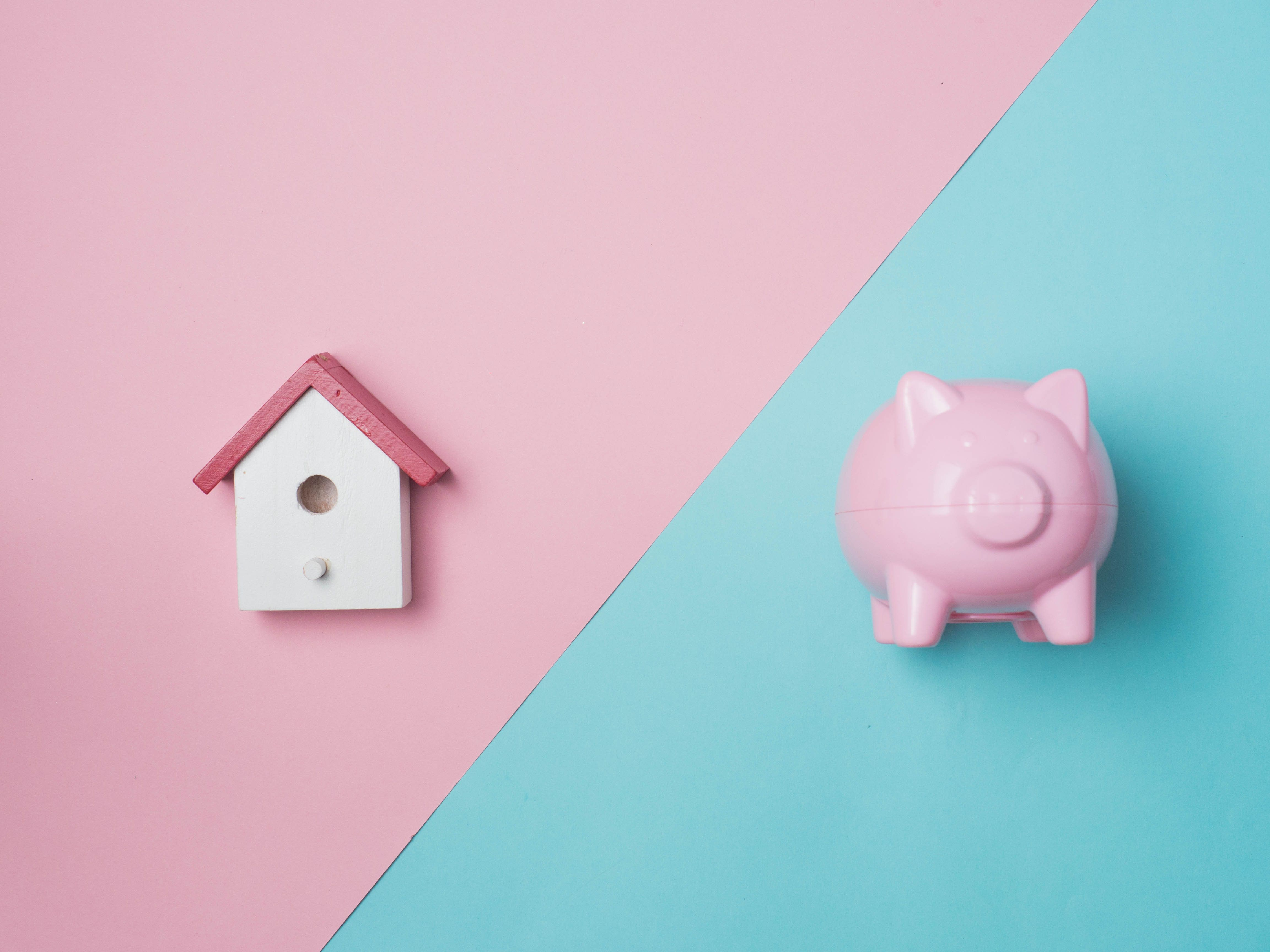 Piggy Bank Money Saving Finance Concept.Piggy bank pink color on color background.top view flat lay style.