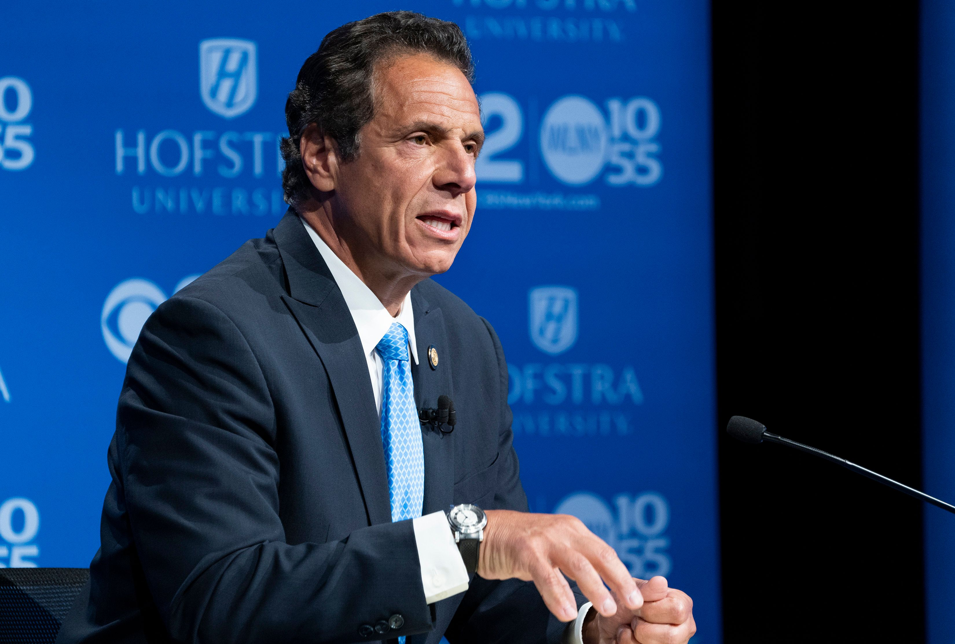 HEMPSTEAD, NY - AUGUST 29: New York Gov. Andrew Cuomo answers a question during a debate with primary opponent Cynthia Nixon at Hofstra University August 29, 2018 in Hempstead, New York. The debate is the only televised one between the two candidates before the primary on September 13.  (Photo by Craig Ruttle-Pool/Getty Images)