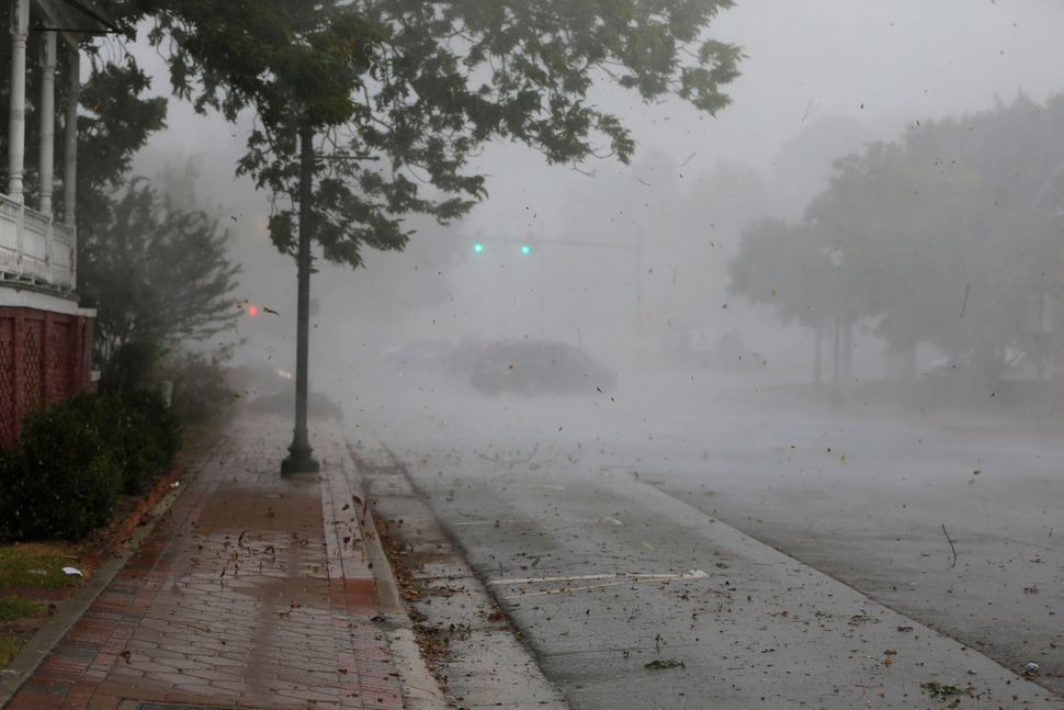 The outer bands of Hurricane Florence hit New Bern, North Carolina, on Sept. 13, 2018.