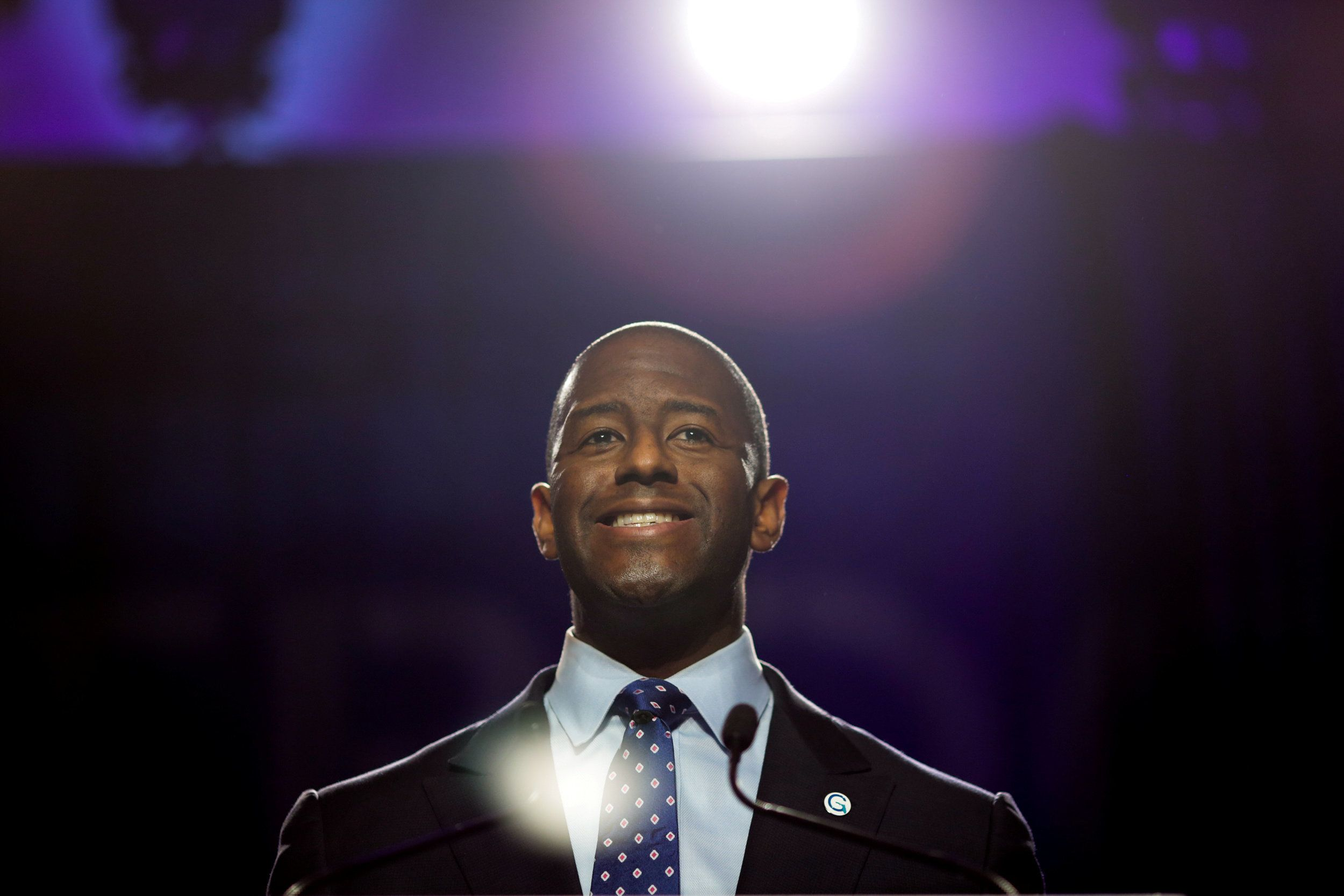 Tallahassee, Florida Mayor, Andrew D. Gillum addresses the audience at the Netroots Nation annual conference for political progressives in Atlanta, Georgia, U.S. August 10, 2017. REUTERS/Chris Aluka Berry