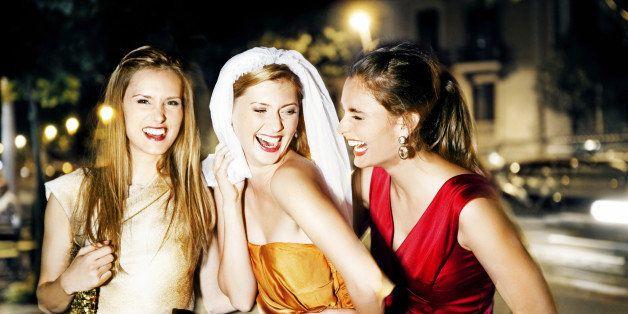 Friends having a bachelorette party