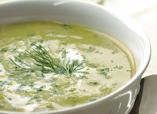 Cook this soup with the peas and their pods, since after pureeing, the solids are strained out. Freeze the soup in batches to