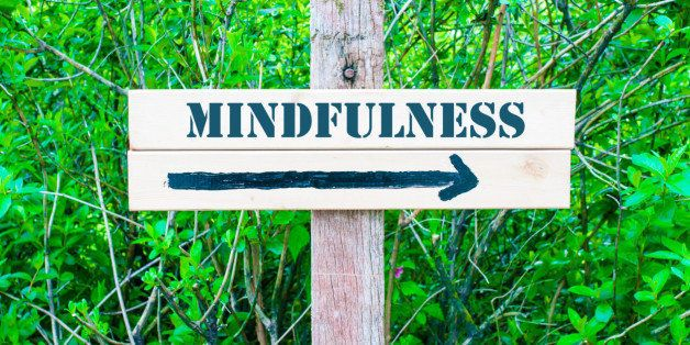MINDFULNESS written on Directional wooden sign with arrow pointing to the right against green leaves background. Concept image with available copy space
