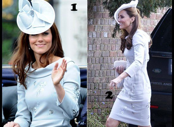 LOOK 1: At the Trooping of Colours event in June 2012.  LOOK 2: At a friend's wedding in September 2012.  (Getty/Ikon Pic