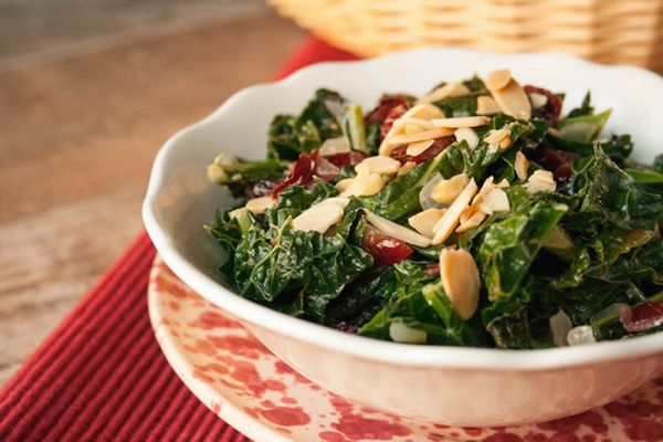 """<strong>Get the <a href=""""http://www.themerchantbaker.com/side-dishes/thanksgiving-kale/"""" target=""""_blank""""> Thanksgiving Kale r"""