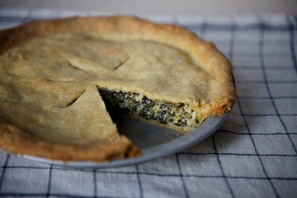 """<strong>Get the <a href=""""http://food52.com/recipes/10029-leek-and-greens-tart-with-cornmeal-crust"""" target=""""_blank"""">Leek and G"""