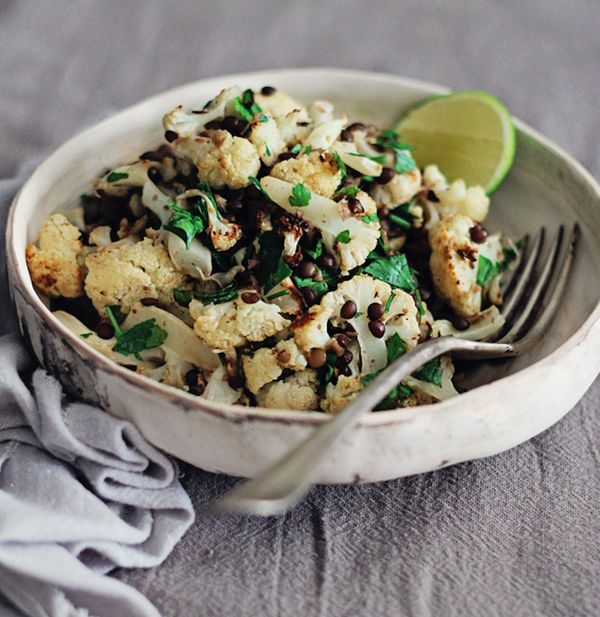 """<strong>Get the <a href=""""http://www.theawesomegreen.com/cumin-roasted-cauliflower-with-black-lentils/"""" target=""""_blank"""">Cumin"""