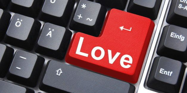 love button showing concept for online dating
