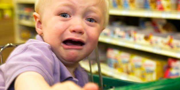 Toddler boy crying in grocery store