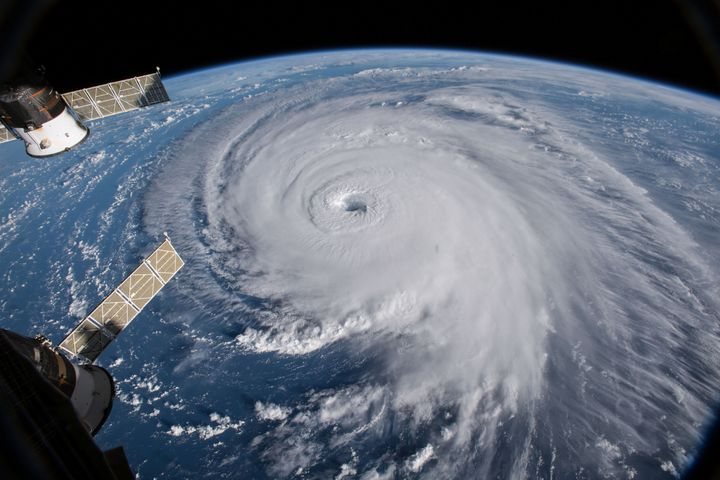 A view of Hurricane Florence churning in the Atlantic Ocean on Wednesday as it heads for the East Coast. The view is from the