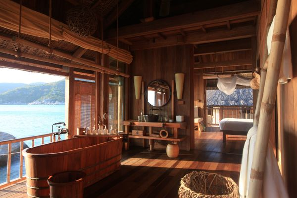 "Perched on a private island near Vietnam's Nha Trang, the <a href=""http://www.sixsenses.com/resorts/ninh-van-bay/accommodatio"