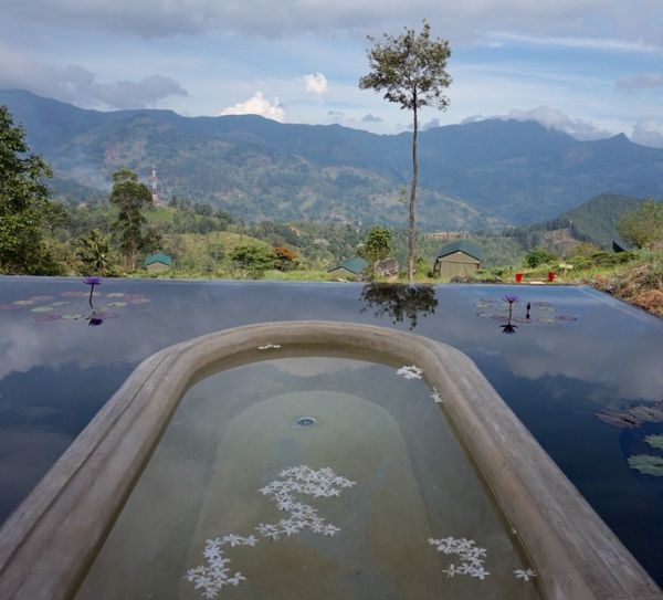 "If you've ever fancied a long soak amongst the clouds, this could be the bathroom for you. The outdoor bath at the <a href=""h"
