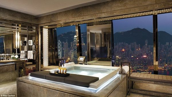 "Unapologetically ostentatious, the Ritz Carlton Suite at the <a href=""http://www.grandluxuryhotels.com/hotel/the-ritz-carlton"