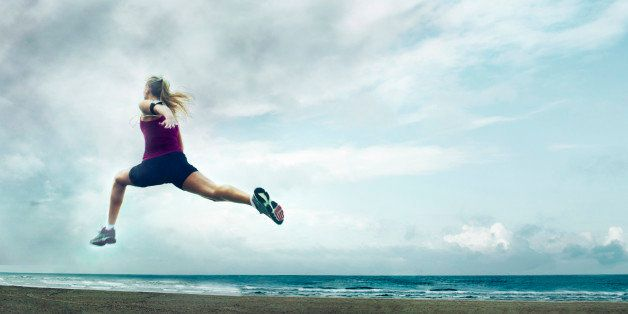 fitness, running, wellness, training, exercise, healthy, lifestyle, beach, jog, sprint, jump, storm, dark clouds, fast, speed, woman, blonde, caucasian, pretty, motion, youth, energy, confident, alone, athletic, motivation, inspiration, creative, healthy, determination, goal, morning, freedom, happy