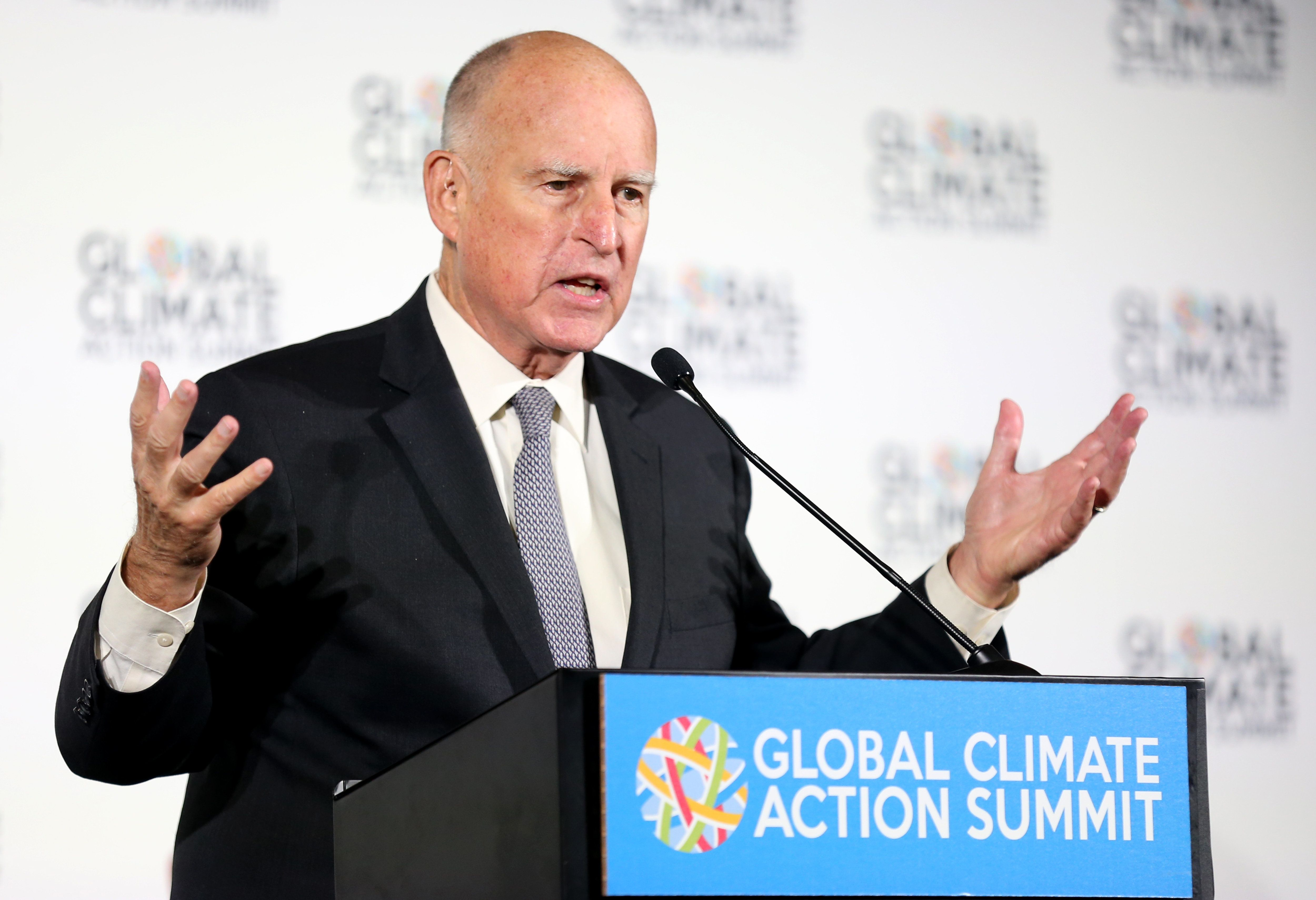 SAN FRANCISCO, CA - SEPTEMBER 13: California's Governor Jerry Brown speaks at a news conference held at the Global Climate Action Summit in San Francisco, Calif., on Thursday, Sept. 13, 2018. Brown joined Washington's Governor Jay Inslee, Hawaii's Governor David Ige and Connecticut's Governor Dannel Malloy to discuss the U.S. Climate Alliance, a bipartisan coalition of governors focused on decreasing greenhouse gas emissions inline with the goals of the Paris Agreement. (Anda Chu/Digital First Media/The Mercury News via Getty Images)