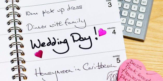 Wedding day in diary