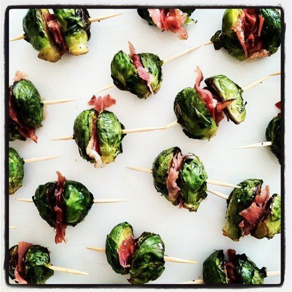 "<strong>Get the <a href=""http://bevcooks.com/2012/01/roasted-brussels-sprouts-and-prosciutto-bites/"" target=""_blank"">Roasted"