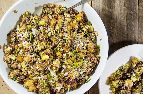 "<strong>Get the <a href=""http://lemonsandbasil.com/roasted-brussels-sprouts-acorn-squash-quinoa/"" target=""_blank"">Roasted Bru"