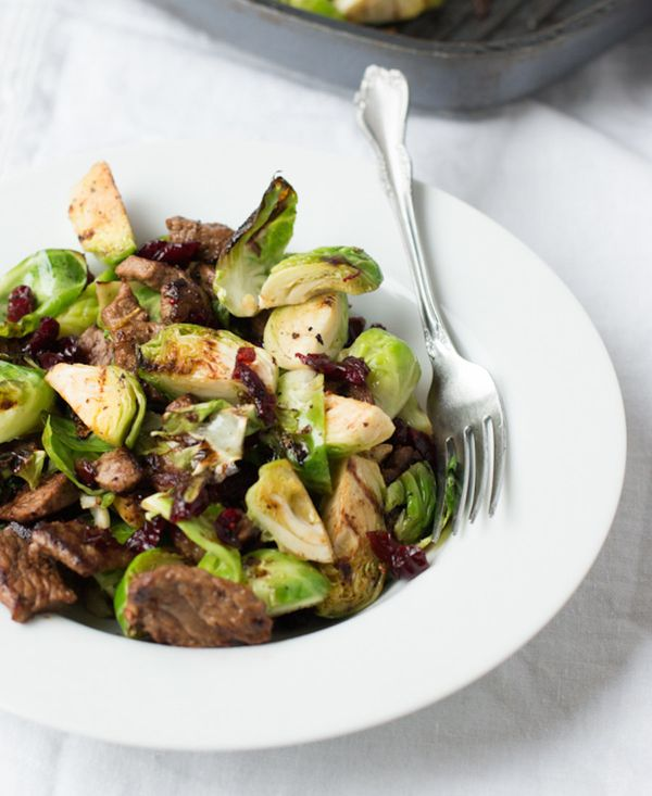 "<strong>Get the <a href=""http://www.ohsweetbasil.com/2014/03/steak-and-brussel-sprouts-recipe.html"" target=""_blank"">Steak & B"
