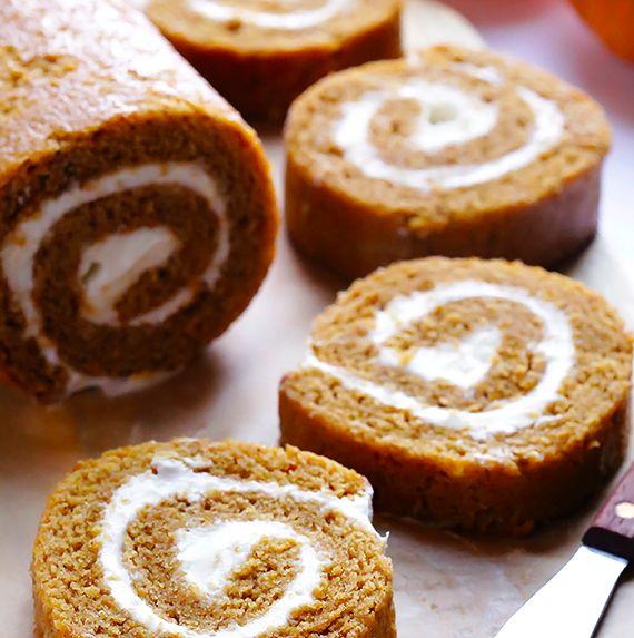 """<strong>Get the <a href=""""http://www.gimmesomeoven.com/pumpkin-roll-recipe/"""" target=""""_blank"""">Pumpkin Roll recipe</a> from Gimm"""