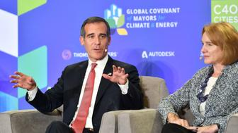 Los Angeles Mayor Eric Garcetti speaks during a panel discussion at the C40 Cities For Climate The Future Is Us kickoff event at San Francisco's City Hall in San Francisco, California on September 12, 2018. (Photo by JOSH EDELSON / AFP)        (Photo credit should read JOSH EDELSON/AFP/Getty Images)