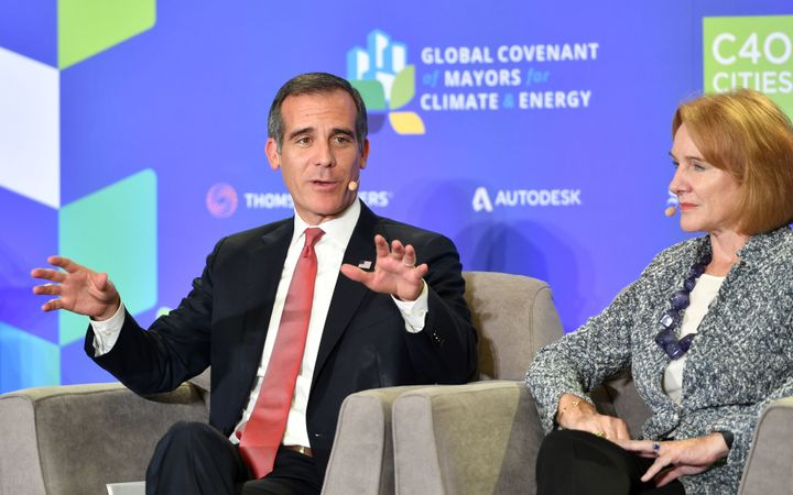 "Los Angeles Mayor Eric Garcetti speaks during a panel discussion at the C40 ""Cities for Climate the Future Is Us"" kickoff eve"