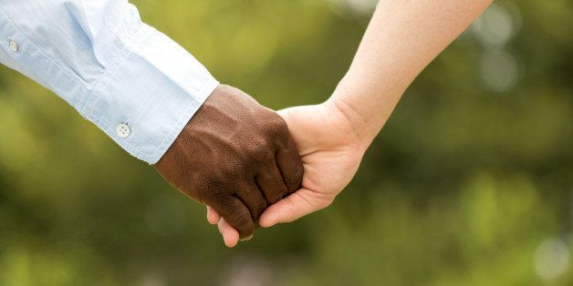 Happy Interracial Couple.  African American man and a Caucasian woman.