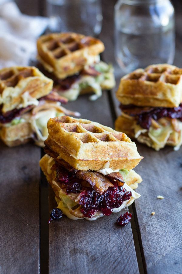 """<strong>Get the <a href=""""http://www.halfbakedharvest.com/turkey-smashed-avocado-cranberry-brie-mashed-potato-waffle-melts/"""" t"""