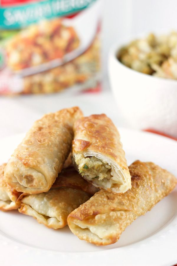 """<strong>Get the <a href=""""http://sweetasacookie.com/leftover-stuffing-egg-rolls/"""" target=""""_blank"""">Leftover Stuffing Egg Rolls"""