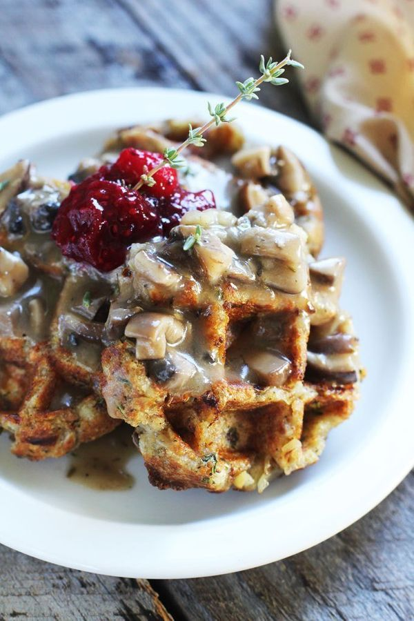 """<strong>Get the <a href=""""http://jjbegonia.com/2014/11/03/stuffing-waffle-recipe-with-chia-cranberry-sauce/"""" target=""""_blank"""">S"""
