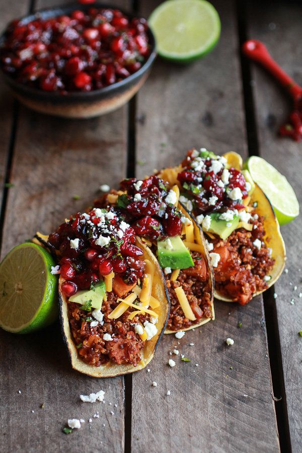 """<strong>Get the <a href=""""http://www.halfbakedharvest.com/chipotle-quinoa-sweet-potato-tacos-roasted-cranberry-pomegranate-sal"""