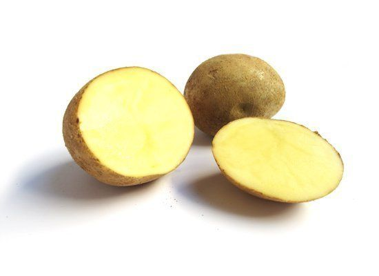 Yukon Gold potatoes have finely flaked yellowish-white skin with light yellow flesh. They're bright, vegetal and slightly swe